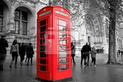 Fototapeta Klasyczny londyński stojak telefoniczny b & w z czerwonym