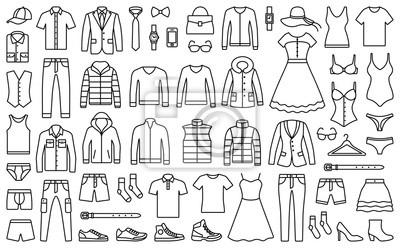 Fototapeta Kobieta i mężczyzna kolekcja ubrań i akcesoriów - szafa moda - ikona zarys ilustracji wektorowych