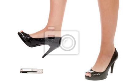 Fototapeta kobieta kruszenia telefon