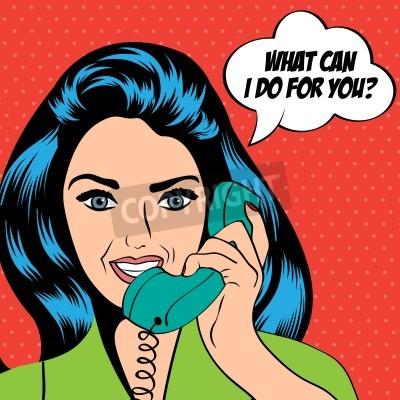 Fototapeta kobieta na czacie na telefon, pop sztuki ilustracji