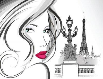 Fototapeta Kobieta na moście Aleksandra III w Paryżu