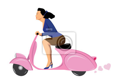 kobieta na vintage różowy skuter Vespa