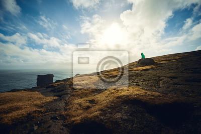 Kobieta sama w Dyrhólaey, Islandia