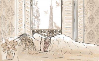Fototapeta kobieta śpi w Paryżu