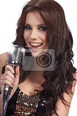 Fototapeta Kobieta śpiewa w retro mic