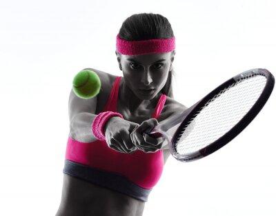 Fototapeta Kobieta sylwetka portret tenisista