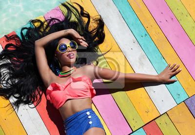 Fototapeta Kobieta, tropikalnych, lato, wakacje koncepcji mody