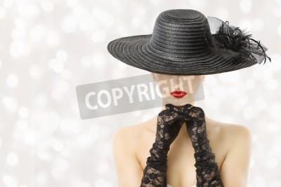 Fototapeta Kobieta w kapeluszu i rękawiczkach, Modelka piękno Portret, Piękna Dziewczyna Ukryta twarz, czerwone usta