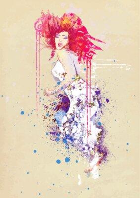 Fototapeta kobieta w letniej sukience (rysunek)