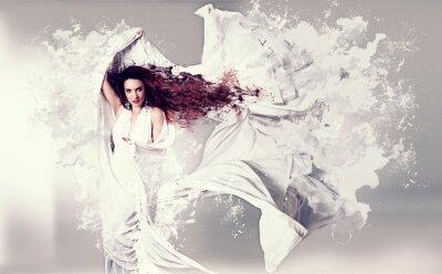 Fototapeta kobieta z białym plusk-sukni mody 06_3 /
