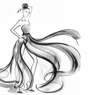 Fototapeta kobieta z eleganckiej sukni .abstract akwarelą
