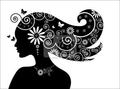 Kobieta z kwiatów i motyli