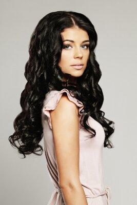 Fototapeta Kobieta z piękne włosy i makijaż