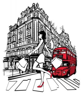 Fototapeta Kobieta zakupy w Londynie