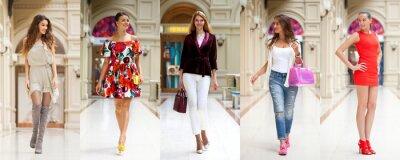 Fototapeta Kolaż pięciu różnych młodych kobiet w jasne modne ubrania