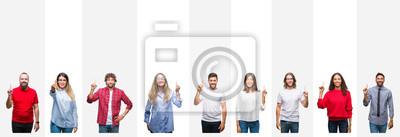 Fototapeta Kolaż różni etniczni młodzi ludzie nad białymi lampasami odizolowywał tło pokazuje i wskazuje up z palcem liczba jeden podczas gdy ono uśmiecha się ufny i szczęśliwy.