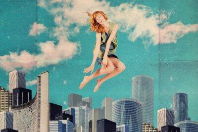 Fototapeta kolaż z skoków kobiety