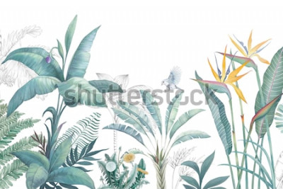 Fototapeta Kolekcja akwarela tropikalnych liści i scen.