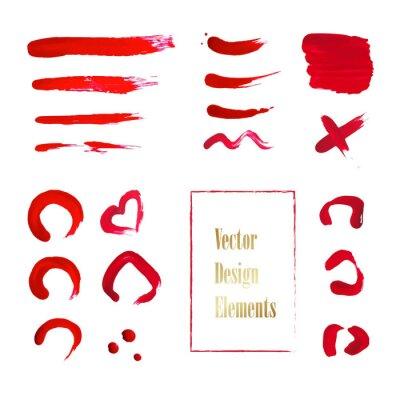 Kolekcja czerwonej farby, pociągnięcia pędzlem, szczotki, linie. Brudne elementy artystyczne, pudła, ramy. Rysunek odręcznych.