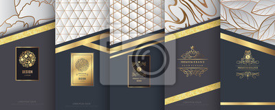 Fototapeta Kolekcja elementów projektu, etykiety, ikona, ramki, do pakowania, projektowania luksusowych produktów. Wykonane ze złotej folii. Na białym tle na tle srebra i marmuru. ilustracji wektorowych
