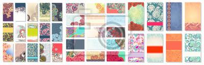 Fototapeta kolekcja kolorowych kwiatów ozdobnych wizytówek