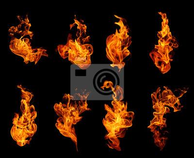Fototapeta Kolekcja Płomienie ognia wyizolowanych na czarnym tle