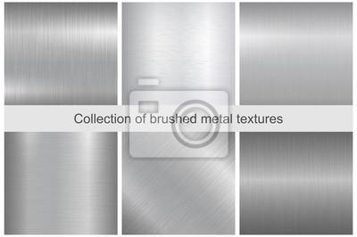 Fototapeta Kolekcja polerowanych tekstur metalowych.