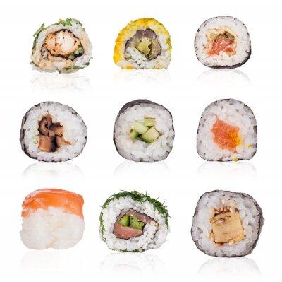 Fototapeta Kolekcja sushi samodzielnie na białym tle