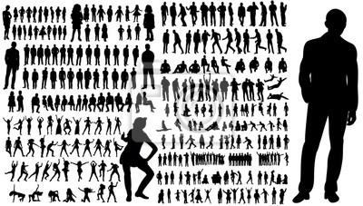 Fototapeta Kolekcja sylwetki ludzi