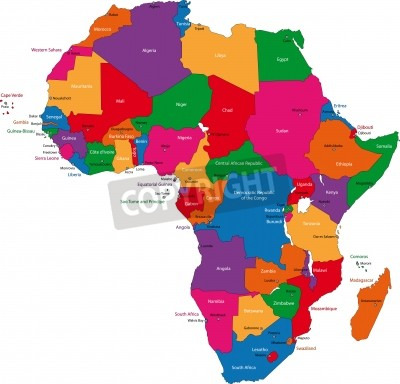 Fototapeta Kolorowa Mapa Afryki Z Krajami I Stolicach Na Wymiar