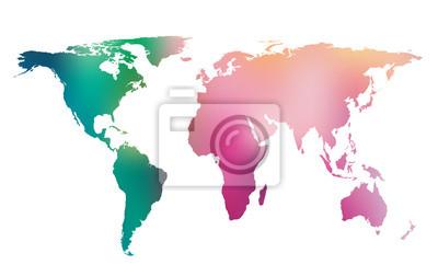 Fototapeta Kolorowa mapa świata gradientu. Wektor tła.