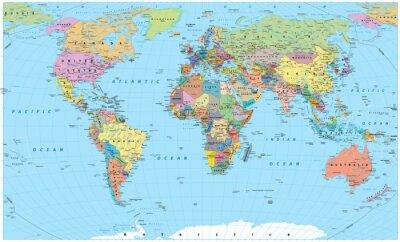 Fototapeta Kolorowa mapa świata - granice, kraje, drogi i miasta