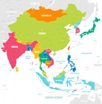 Fototapeta Kolorowa wektorowa mapa Azja Wschodnia