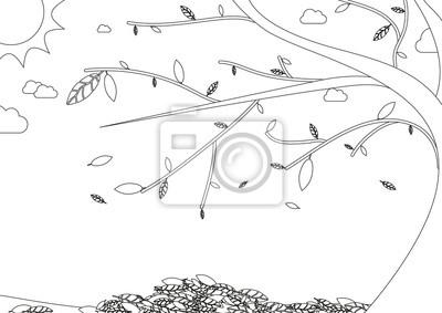 Fototapeta Kolorowanka Jesienny Krajobraz Z Drzewa Z Opadających Liści Na Wymiar Czarny Tradycyjny Tło Redro Pl