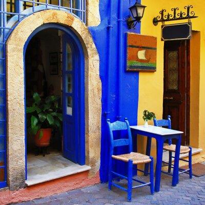 Fototapeta kolorowe greckie ulice, Chania, Kreta