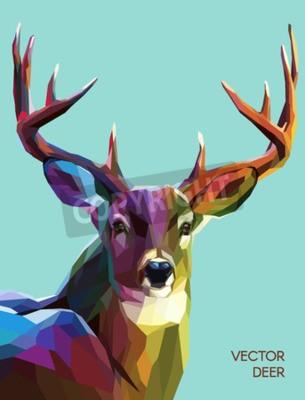 Fototapeta Kolorowe jelenia ilustracji. Tło z dzikich zwierząt. Niskie poli jelenia z rogami.
