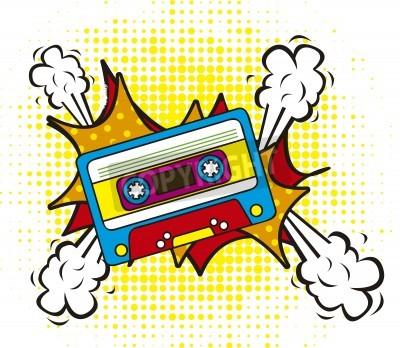 Fototapeta kolorowe kasety, w stylu pop-art