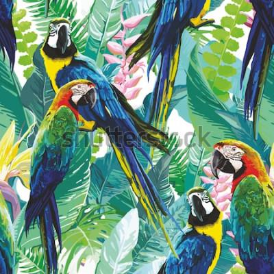 Fototapeta kolorowe papugi i egzotyczne kwiaty