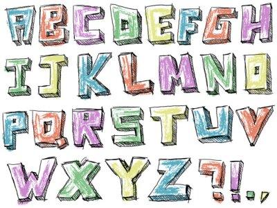 Fototapeta Kolorowe pobieżny wyciągnąć rękę alfabet