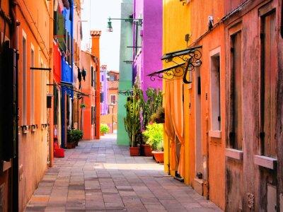 Fototapeta Kolorowe ulicy w Burano, niedaleko Wenecji, Włochy