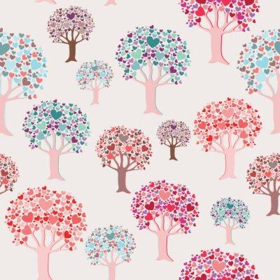 Fototapeta Kolorowi drzewa z sercem opuszczają bezszwowego wzór. Ilustracja wektorowa na beżowym tle