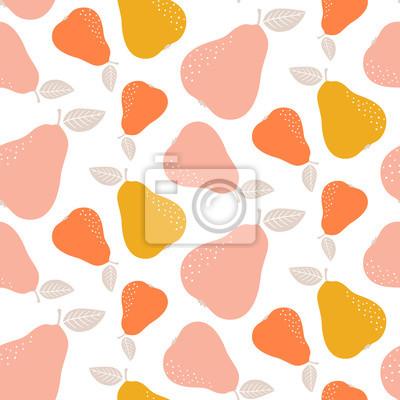 Kolorowy bezszwowy bonkreta wzór. Powtarzające się proste tło wektor z owocami.