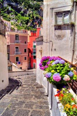 Fototapeta Kolorowy kwiat ulicy w nadmorskiej miejscowości we Włoszech