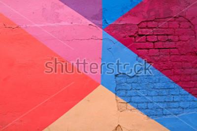 Fototapeta Kolorowy (purpury, błękit menchii i beżu) ściana z cegieł jako tło, tekstura