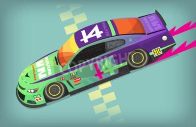 Fototapeta Kolorowy szybki samochód wyścigowy na linii startowej.