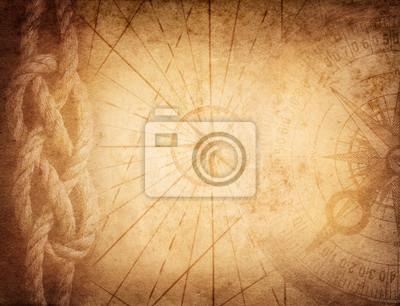 Kompas, liny na mapie vintage. Przygoda, podróże, historie tła.