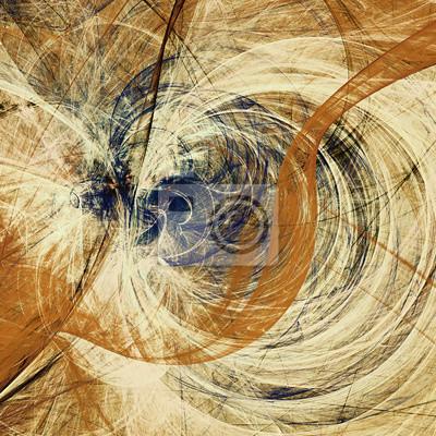 Kompozycja abstrakcyjna ruchu. Nowoczesne futurystyczne tła dynamiczne. Niebieski i żółty kolor retro artystyczny wzór farb. Fractal grafika dla kreatywnego projektowania graficznego