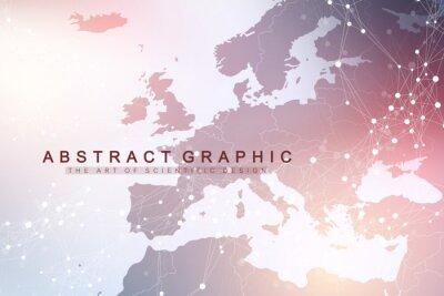 Fototapeta Komunikacja geometryczna tło graficzne z mapą Europy. Kompleks dużych zbiorów danych ze związkami. Tło perspektywy. Minimalna tablica. Cyfrowa wizualizacja danych. Naukowa cybernetyczna wektorowa ilus