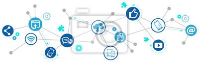 Fototapeta komunikacja mobilna / social media marketing challenge design - vector illustration