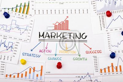 Fototapeta koncepcja marketingowa z wykresu finansowych i wykres